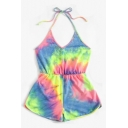 New Fashion Tie Dye Printed Halter Neck Womens Summer Holiday Beach Romper