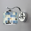 Mediterranean Style Drum Shape Wall Light Metal and Glass Wall Lamp in Blue for Hallway Dining Room
