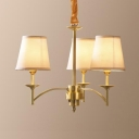 Elegant Brass Hanging Light with Tapered Shade 3/6/8 Lights Metal Fabric Chandelier for Bedroom Foyer