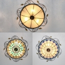 Vintage Dome Shade Flush Mount Light Clear/Sky Blue/Dark Blue Glass Ceiling Light for Bathroom
