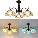 Antique Style Ceiling Mount Light 3 Lights Yellow/Clear/Blue Glass Semi Flush Ceiling Lamp for Living Room