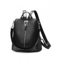 Cool Solid Color Anti-theft Zipper Front Oxford Cloth Shoulder Bag Backpack 29*15*31 CM