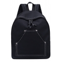 Trendy Solid Color Pocket Front Casual Canvas Bag Backpack 32*16*40 CM
