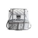 New Trendy Plain Rhombus Pattern Transparent Designed Shoulder Bag Backpack 23*12*26 CM