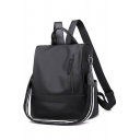 Simple Plain Letter Strap Zipper Fronted Anti-theft Waterproof Shoulder Bag Backpack 30*17*30 CM