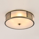 4/5 Lights Round Flush Mount Light Simple Style Frosted Glass Ceiling Fixture for Living Room