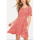 Summer Vintage Square Neck Short Sleeve Floral Printed Red Mini A-Line Dress