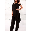 Women's Trendy Solid Color High Waist Chiffon Loose Pants Jumpsuits