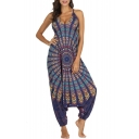 Women's New Tribal Print V-Neck Sleeveless Loose Baggy Yoga Bloomers Jumpsuits