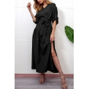 Womens Basic Solid Color V-Neck Long Sleeve Split Side Bow-Tied Waist Maxi Dress