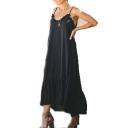 Womens Summer Unique Stringy Selvedge Maxi Casual Loose Cami Dress