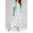 New Stylish Round Neck Light Green Contrast Maxi Short Sleeve Slim Fit Dress For Women