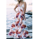 Women's Hot Fashion Leaf Print V-Neck Sleeveless Boho Maxi Beach Dress
