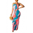 Women's Hot Fashion Sexy Blue Tie-dye Halter Neck Sleeveless Backless Maxi Slip Dress