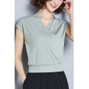Summer Basic Simple Solid Color Surplice V-Neck Ice Silk T-Shirt