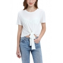 Basic Simple Solid Color Round Neck Short Sleeve Bow-Tied Hem Cropped Tee