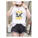 New Trendy LAID L&VE Letter Figure Pattern Round Neck Short Sleeves Casual Cotton Graphic T-Shirt