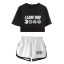 Summer Trendy Letter I LOVE YOU 3000 Cropped Tee with Loose Shorts Casual Two-Piece Set for Girls