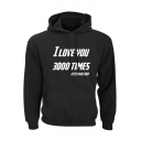 New Popular Letter I LOVE YOU 3000 TIMES Basic Long Sleeve Classic Fit Hoodie