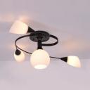 Metal Black Semi Flush Mount Light Dining Room 4/6 Lights Contemporary Light Fixture