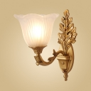 Antique Style Brass Wall Light with Leaf Body Flower Shade 1/2 Lights Metal Sconce Light for Bedroom
