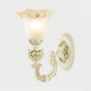 Elegant Style Petal Wall Lamp 1 Light Glass Sconce Light with Carved Arm for Living Room