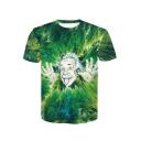 Summer Hot Fashion 3D Einstein Figure Printed Basic Round Neck Short Sleeve Green T-Shirt