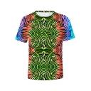 New Stylish Unique 3D Tie Dye Printed Round Neck Short Sleeve Basic T-Shirt