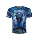 Men's Hot Style 3D Printed Basic Round Neck Short Sleeve Casual Blue T-Shirt