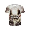 New Trendy 3D Skull Printed Basic Round Neck Short Sleeve White T-Shirt For Men