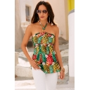 Summer Hot Fashion Womens Holiday Pineapple Printed Halter Neck Sleeveless Bandeau Top