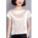 Womens Summer Chic Solid Color Round Neck Short Sleeve Button Embellished Silk Blouse