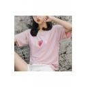 Girls Summer Sweet Heart Printed Loose Fit Glitter Silk T-Shirt