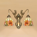 Rustic Style Sunflower Wall Light 2 Lights Stained Glass Wall Lamp for Dining Room