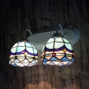 Tiffany Style Dome Sconce Lamp Stained Glass 2 Lights Sconce Light for Bedroom Restaurant