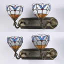 Hallway Bowl Sconce Light White/Clear Glass 2 Lights Antique Style Colorful Wall Lamp