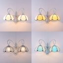Dome Shape Wall Lamp 2 Lights Tiffany Style Blue/Beige/Clear/White Glass for Stair Foyer