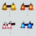 Stained Glass Bell Sconce Light Shop Restaurant 2 Lights Mosaic Wall Lamp in Yellow/Orange/Pink/Blue