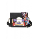 Trendy Printed Wide Strap Hasp Square Crossbody Bag 17*8*15 CM