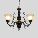 Black-Gold/White-Gold Flower Chandelier 3/5/6 Lights Traditional Metal Hanging Light for Living Room