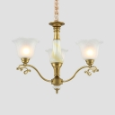 3/6/8 Lights Bell Shade Chandelier Elegant Style Frosted Glass Hanging Light in Gold for Bedroom