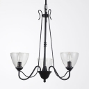 Metal Candle Suspension Light with Cone Shade Foyer 3/5 Lights Colonial Style Chandelier in Black