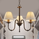 Vintage Style Tapered Pendant Lighting 3/5/6 Lights Fabric Metal Chandelier for Hallway Bedroom