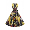 Women's New Style Geometric Floral Pattern Sleeveless Round Neck Bow-Tied Waist Yellow Midi A-Line Dress