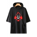 Trendy Comic Fire Skull Printed Loose Casual Short Sleeve Hooded T-Shirt