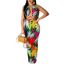Women's Hot Fashion Leaf Print Halter Sleeveless Cut Out Detail Maxi Nightclub Bodycon Dress