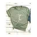 Cool Simple Letter BLESSED Printed Short Sleeve Round Neck Cotton Tee