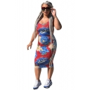 Women Color Block Floral Side Stripe Print Scoop Neck Sleeveless Midi Bodycon Dress