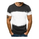 Men's Basic Round Neck Short Sleeve Ombre Color Fitted T-Shirt