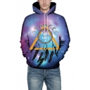 Lunar Eclipse POSITIVE VIBES Purple Galaxy Printed Long Sleeve Pullover Hoodie
